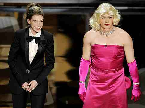 Hathaway and Franco in drag, Oscars 2011