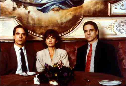 Jeremy Irons as Beverly and Elliot Mantle and Geneviève Bujold as Claire in Dead Ringers