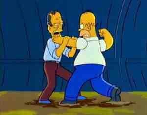 Homer Simpson and President George Bush in The Simpsons' Two Bad Neighbors