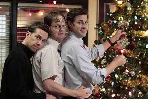 Ed Helms as Andy Bernard, Rainn Wilson as Dwight Schrute, John Krasinski as Jim Halpert in The Office Christmas Wishes