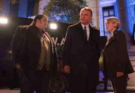 Jorge Garcia, Sam Neill, and Sarah Jones in Alcatraz' Cal Sweeney