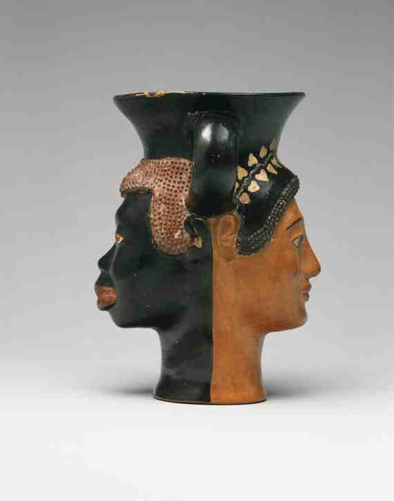 Janiform kantharos with addorsed heads of a male African and a female Greek