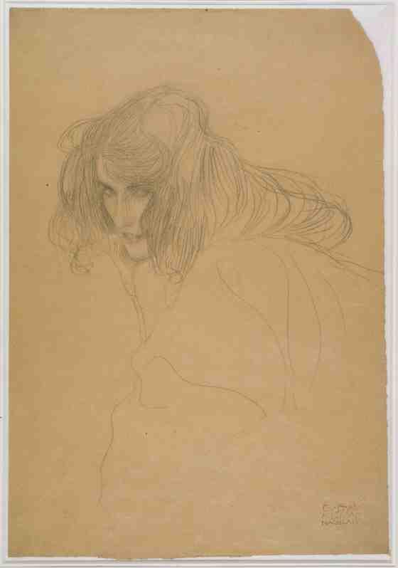 Gustav Klimt: Study of a Woman's Head in Three-Quarter Profile