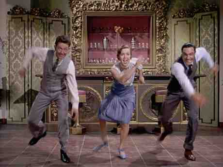 Debbie Reynolds greets the morning with Donald O'Connor and Gene Kelly in Singin' In The Rain