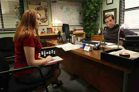 THE OFFICE -- Andy's Ancestry Episode 903 -- Pictured: (l-r) Catherine Tate as Nellie Bertram, Ed Helms as Andy Bernard