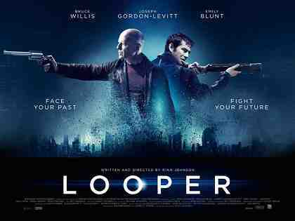 LOOPER, l-r: Bruce Willis, Joseph Gordon-Levitt on British poster art, 2012