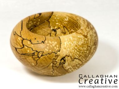 Wormed spalted beech vessel, 16cm dia, 8cm high