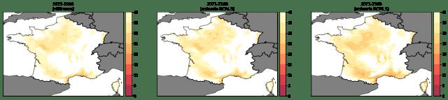 Evolution de l'indice d'aridité de Martonne en France métropolitaine avec le changement climatique