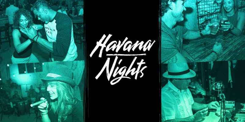 Havana Nights. Graphic with people dancing.