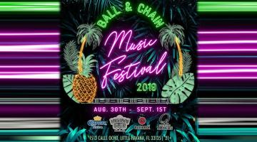 Ball & Chain promotional material for music festival during Labor Day Weekend