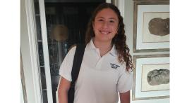 Enthusiastic student ready to attend to school and meet her new teachers.