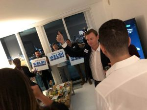 JWatParty 1 300x225 - Candidate for Miami Beach Commissioner Jon Welsh stands proudly against a Cuban Consulate in Miami Beach