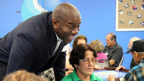 """magic12 - NBA Legend Earvin """"Magic"""" Johnson joined the City of Hialeah in the inauguration of a Domino Room at the Goodlet Adult Center"""