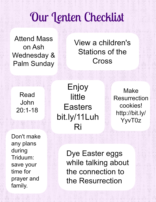 Our Lenten Checklist