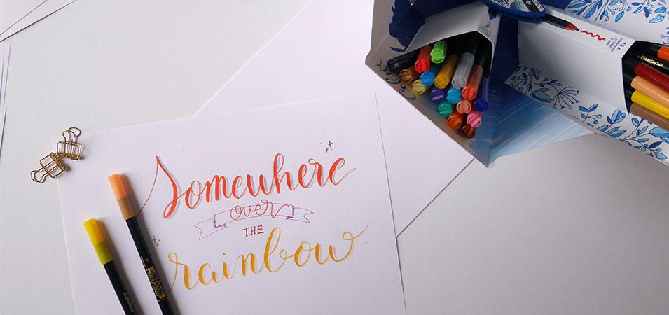 test colour Happy Box Edding - calligraphique