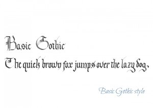 Jane's Basic Gothic calligraphy style