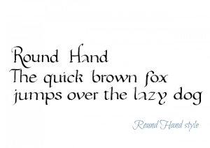 Jane's Round Hand calligraphy style