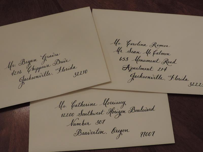 Grace jacksonville fl calligraphy for weddings
