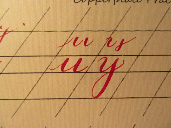 Modern Calligraphy Lowercase u and y demonstration