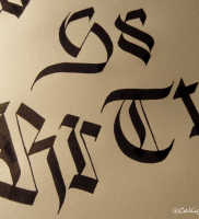 Gothic calligraphy letters r s and t