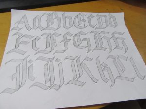 Gothic Blackletter Calligraphy Alphabet letter examples A-L