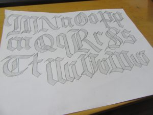 Gothic Blackletter Calligraphy Alphabet letter examples M-W