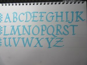Foundational blackletter calligraphy uppercase alphabet example