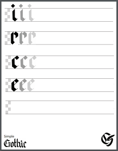 Simple Gothic Lowercase Calligraphy Practice Sheet