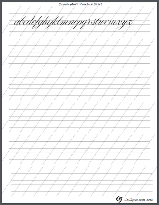 Copperplate Practice Sheet