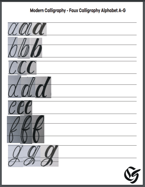 Printable Calligraphy Alphabet Worksheets