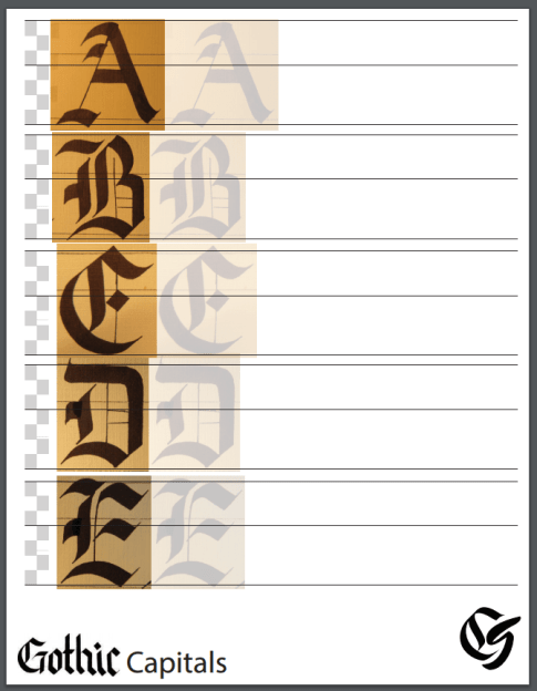 Guide sheet for copperplate