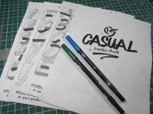 Casual style brush calligraphy practice sheet set