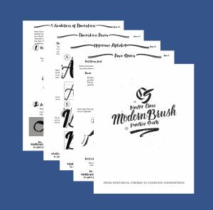 Master Class modern Brush Calligraphy Practice Sheet set Product