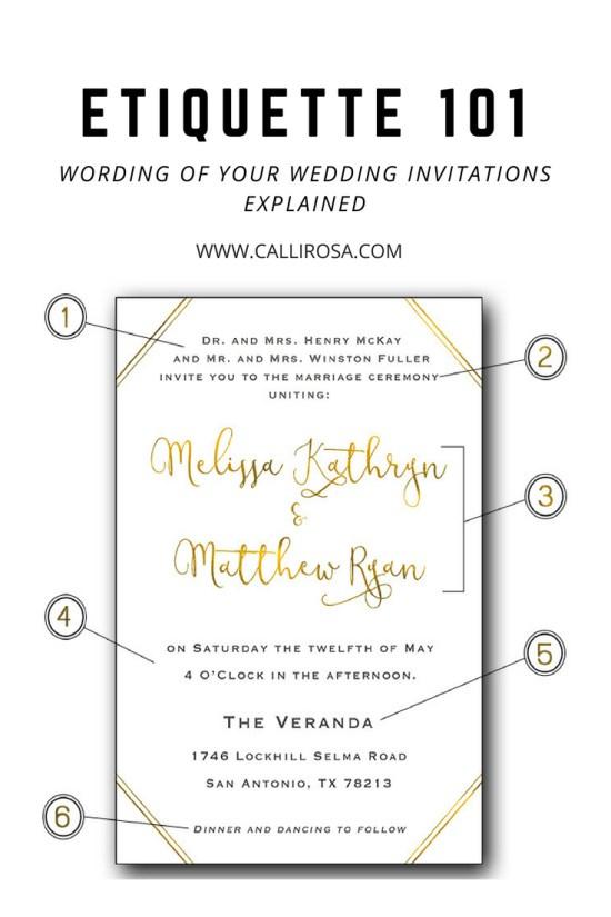 Wording Etiquette 101 Wedding Invitations by CalliRosa San Antonio Wedding Stationer