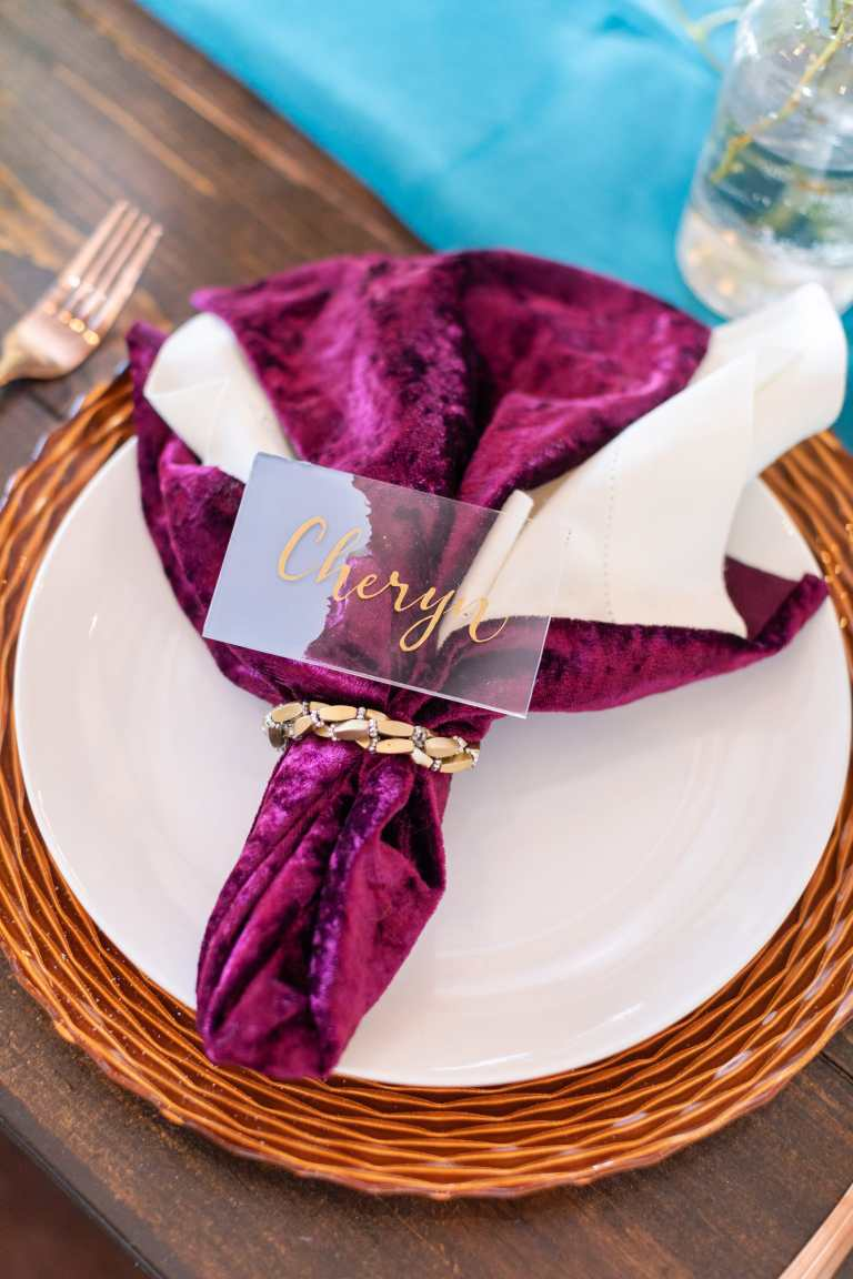 Acrylic Dusty Blue Placecard with Gold Calligraphy by CalliRosa Caligrapher in San Antonio Texas