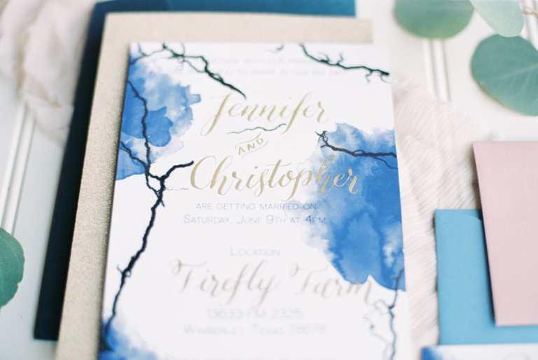 Blue Watercolor Gold Foil Invitation with gold calligraphy at Firefly Farm by CalliRosa custom wedding invitations in San Antonio Texas