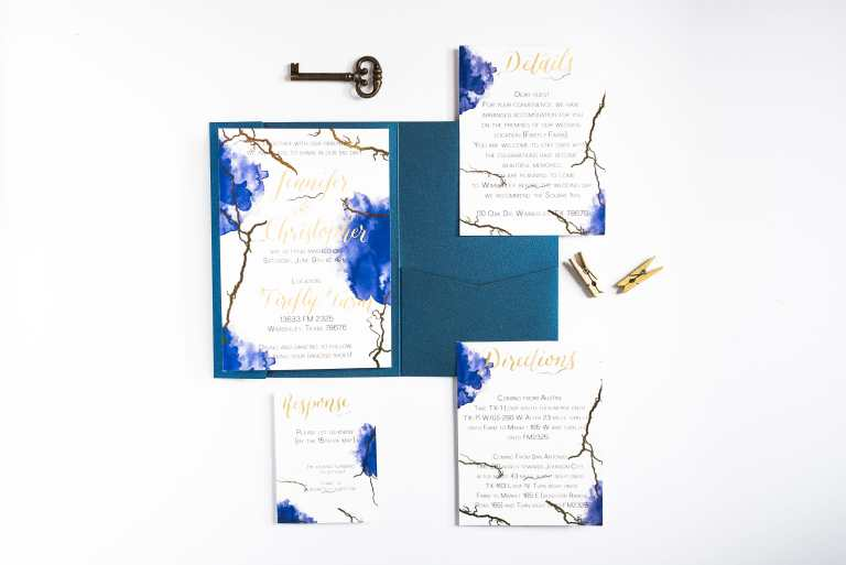Blue Watercolor Gold Foil Invitation with gold calligraphy at Firefly Farm by CalliRosa custom wedding invitations in San Antonio Texas