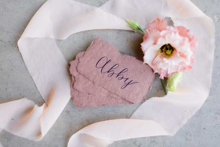 Blush Clay Earth Tone Placecards on Handmade Paper with Navy Calligraphy at Park 31 by CalliRosa Calligrapher in San Antonio Texas
