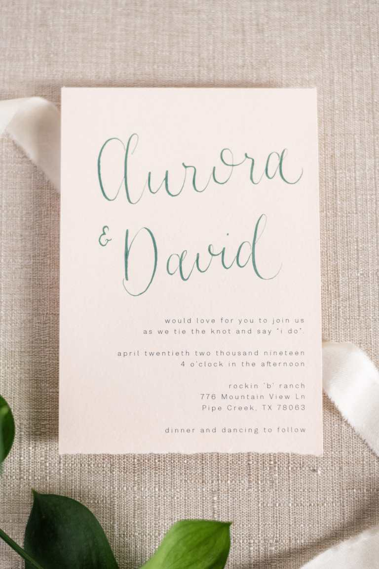Blush Modern Minimalistic Fine Art Invitation Suite with Torn Edges and Green Calligraphy at Rockin B Ranch by CalliRosa custom wedding invitations in San Antonio Texas