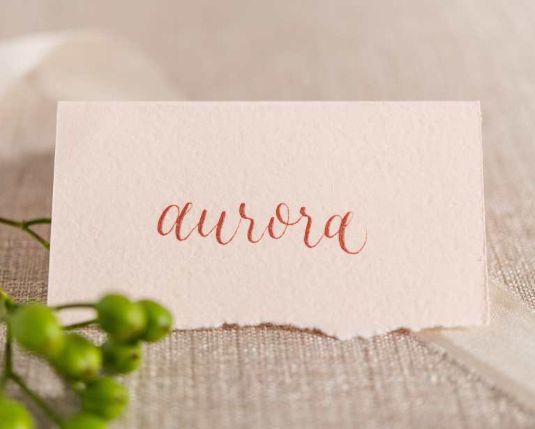 Blush Placecard with Rose Gold Calligraphy and Handtorn Deckled Edge by CalliRosa Calligrapher in San Antonio Texas
