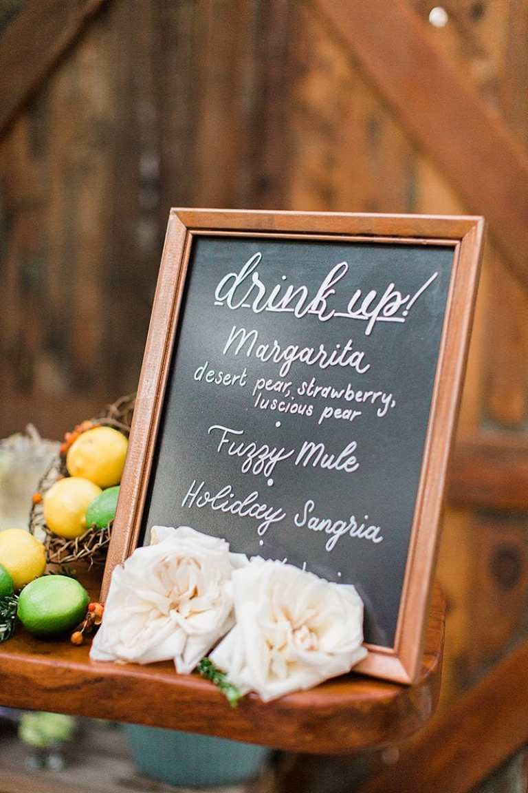 Chalkboard Style Barsign Drinks Sign Copper Detail with White Calligraphy by CalliRosa Calligrapher in San Antonio Texas