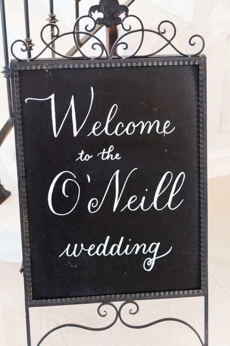 Chalkboard Wedding Welcome Sign with White Calligraphy by CalliRosa Calligrapher in San Antonio Texas