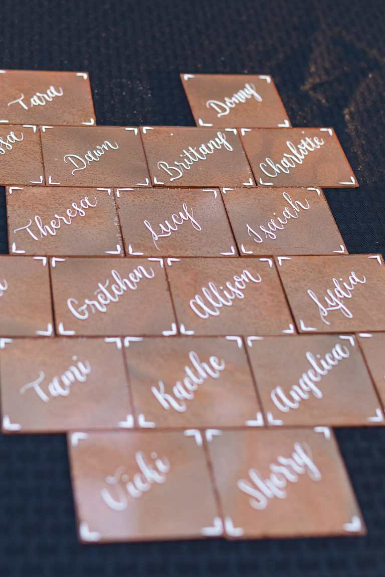 Copper Acrylic Placecards with White Calligraphy by CalliRosa Calligrapher in San Antonio Texas