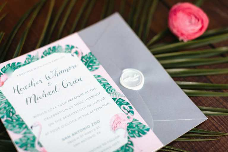 Flamingo Animal Inspired Invitation Suite with wax seal at San Antonio Zoo by CalliRosa Custom Wedding Invitations in San Antonio Texas