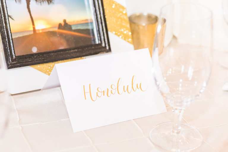 Gold on White Tented Tablenumber Honolulu at Kendall Plantation by CalliRosa calligraphy calligrapher in San Antonio Texas