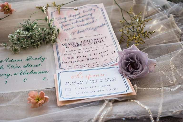 Green Blush Vintage Modern Invitation with Vellum Detail Overlay by CalliRosa Custom Wedding Invitation in San Antonio Texas