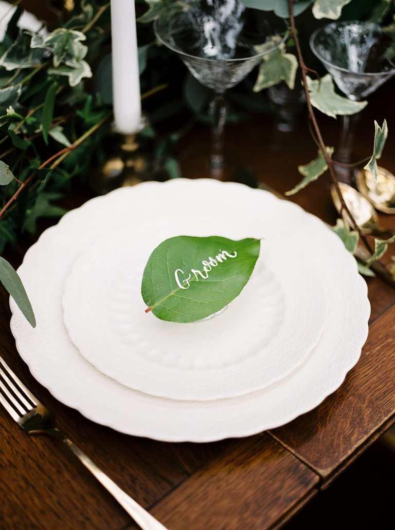Greenery Leaf Placecard with White Calligraphy at The Veranda by CalliRosa Calligrapher in San Antonio Texas