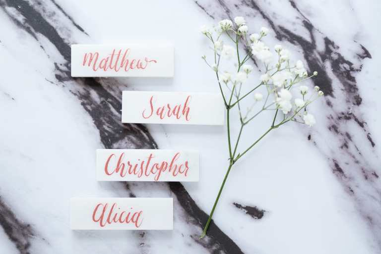 Marble Tile Placecard with Rose Gold Calligraphy by CalliRosa Calligrapher in San Antonio Texas