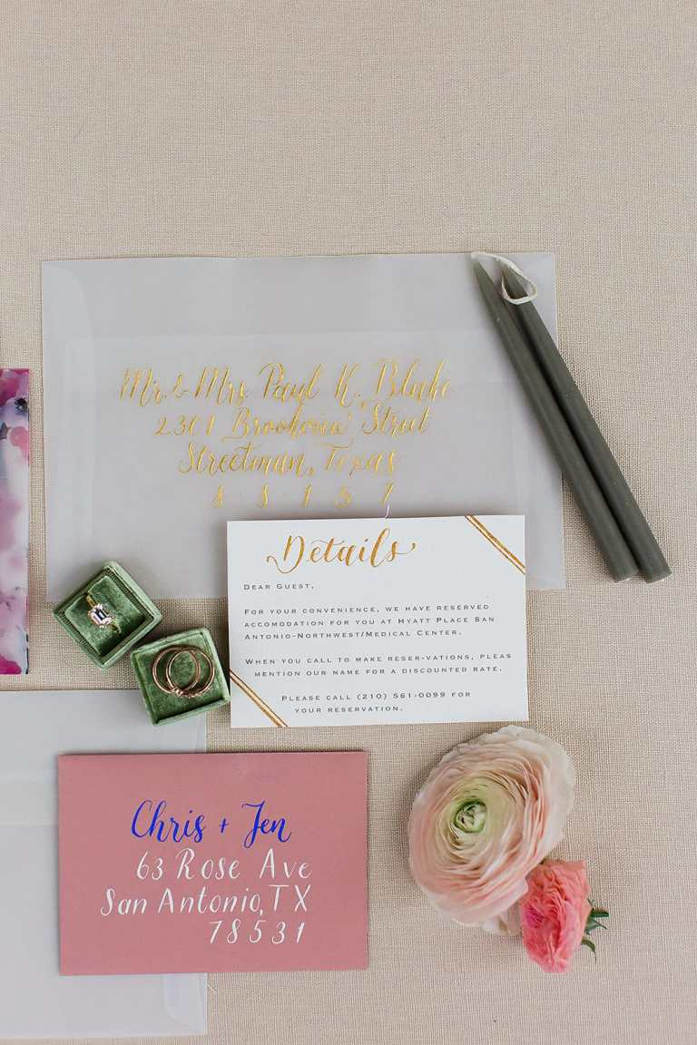 Modern Calligraphy Envelopes - Centered by CalliRosa Calligrapher in San Antonio Texas - vellum envelope with gold lettering