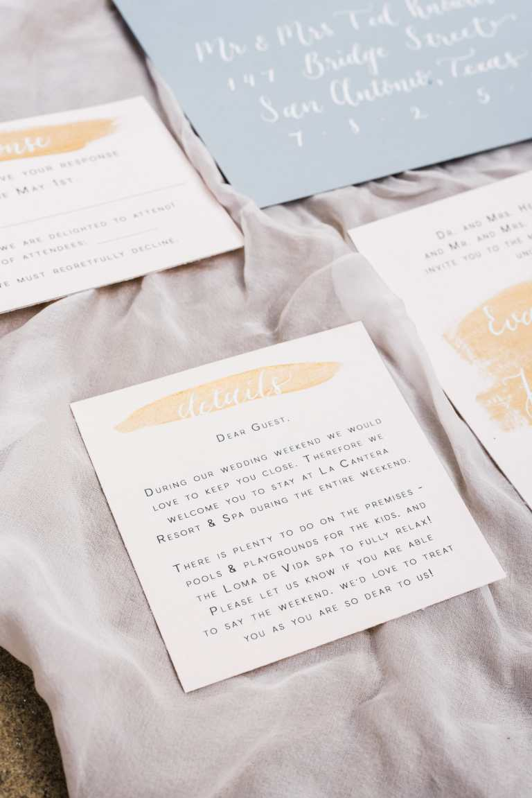 Modern Minimalistic Fine Art Invitation Suite with Gold Paintstrokes and white calligraphy at La Cantera Resort and Spa by CalliRosa Custom Wedding Invitations in San Antonio Texas